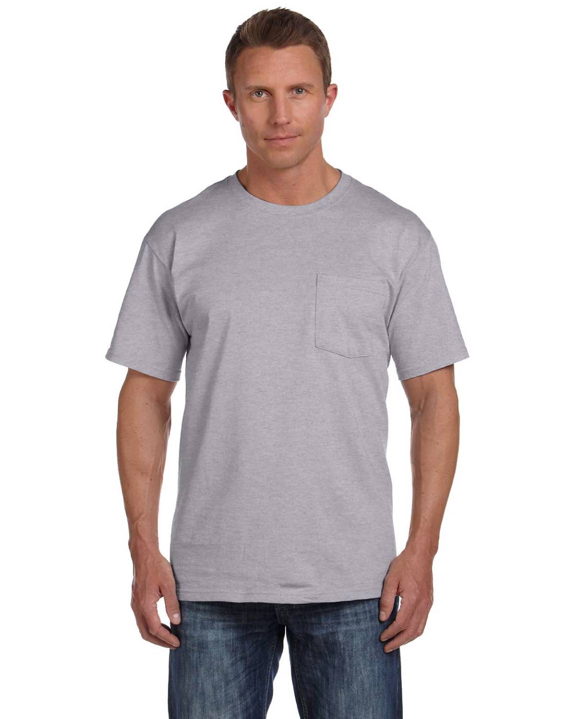 Fruit of the loom men 39 s 5 oz 100 heavy cotton pocket s 3xl for Fruits of the loom t shirts