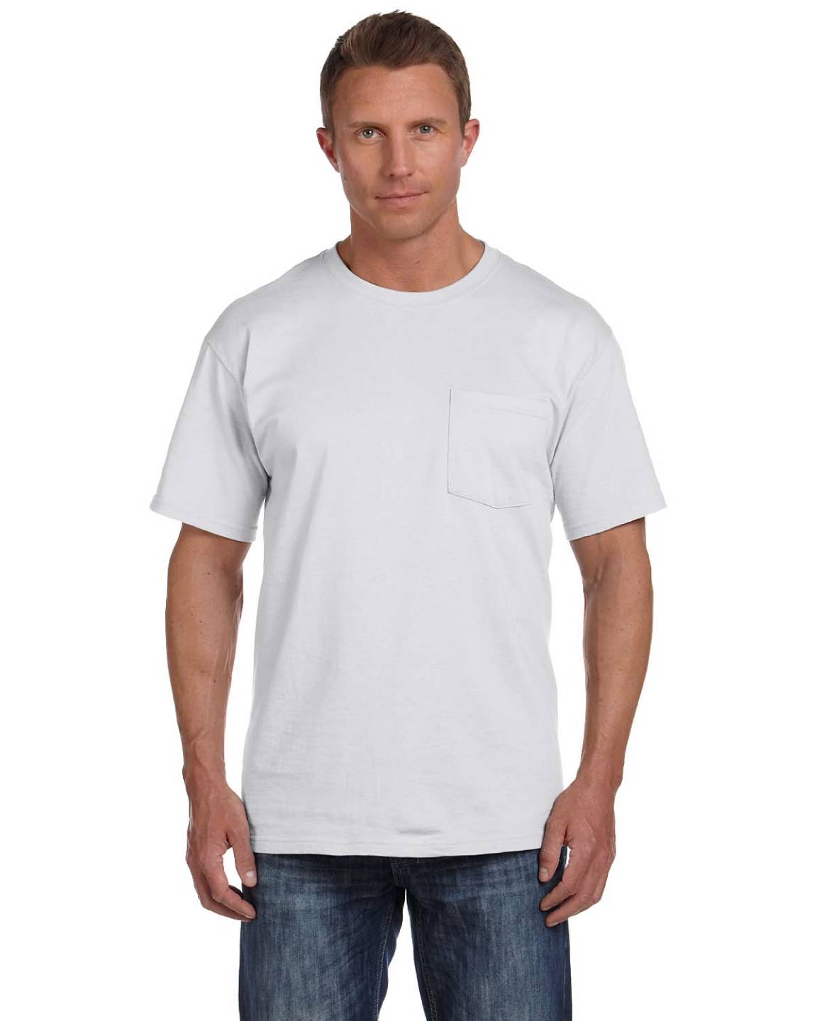 Fruit of the loom men 39 s 5 oz 100 heavy cotton pocket s 3xl for Mens 100 cotton t shirts