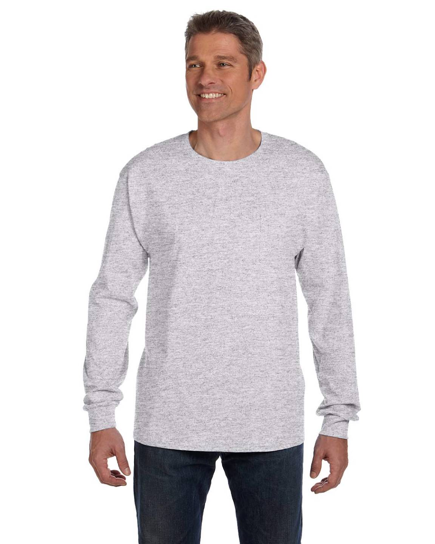 Hanes 6 1 oz heavy tagless 100 cotton long sleeve pocket for Long sleeve pocket shirts