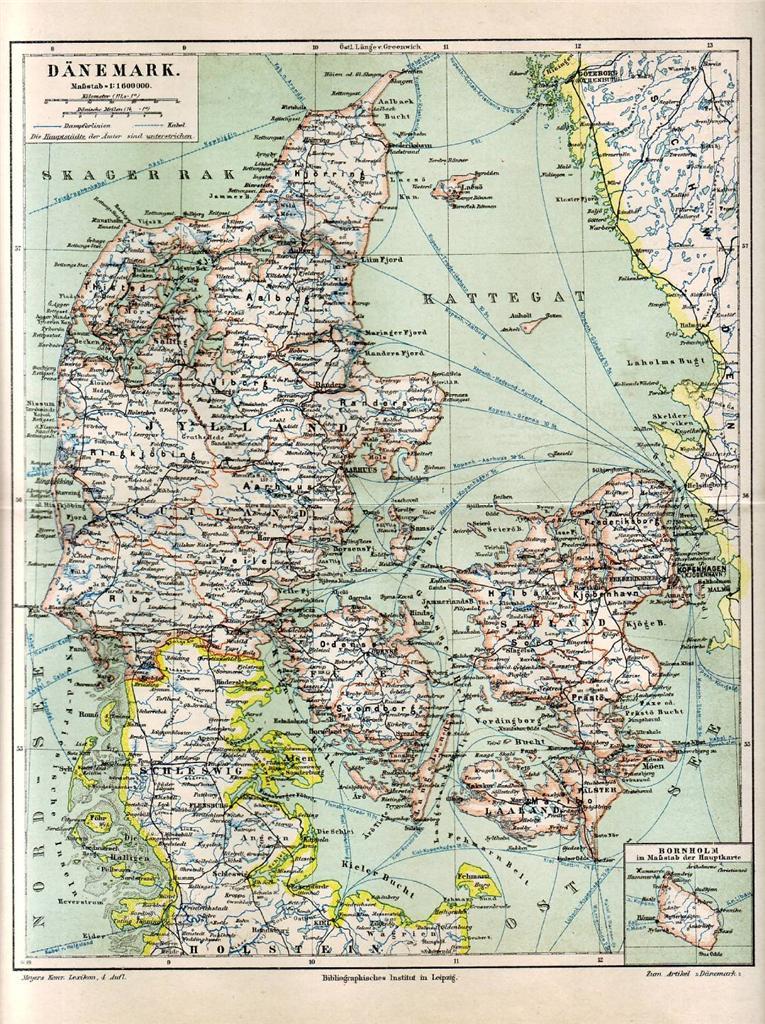 古董 地图,地图集,地球仪 欧洲 史前-1900  1890 denmark & germany