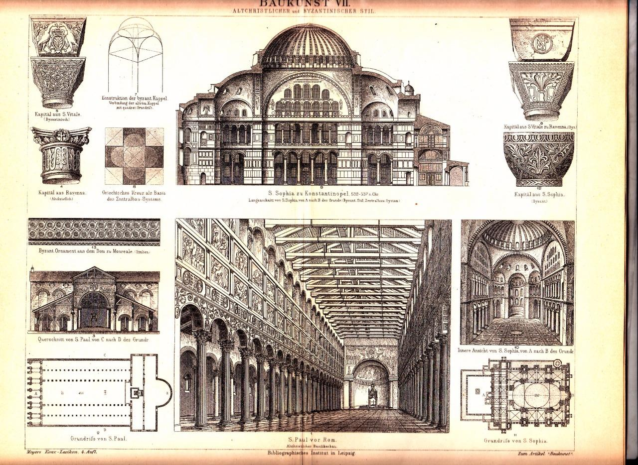 1884 Early Christian Byzantine Architecture Floor