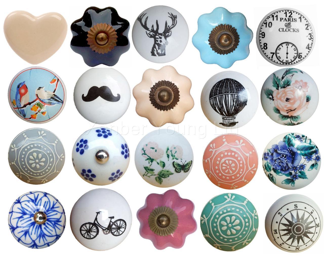 ceramic flower round drawer knob pull handle door cabinet knobs