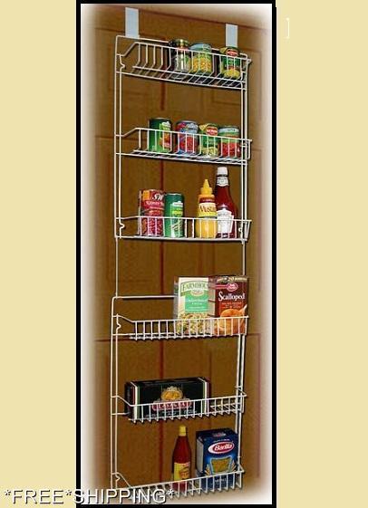 new storage rack pantry kitchen organizer spice holder shelves shelf over door ebay. Black Bedroom Furniture Sets. Home Design Ideas
