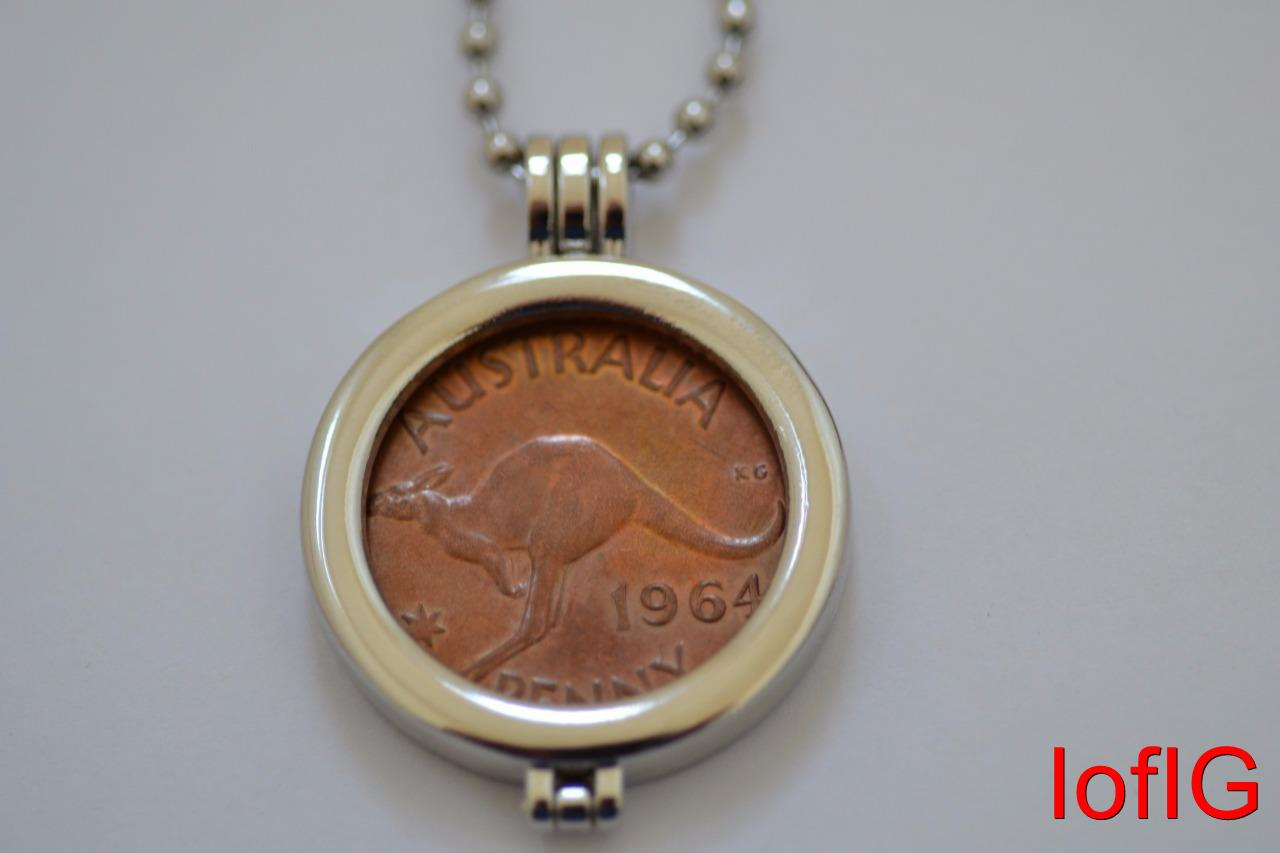 Au one penny coinnecklacependant holderyour lucky birth year coin au one penny coin necklace pendant holder your mozeypictures Gallery