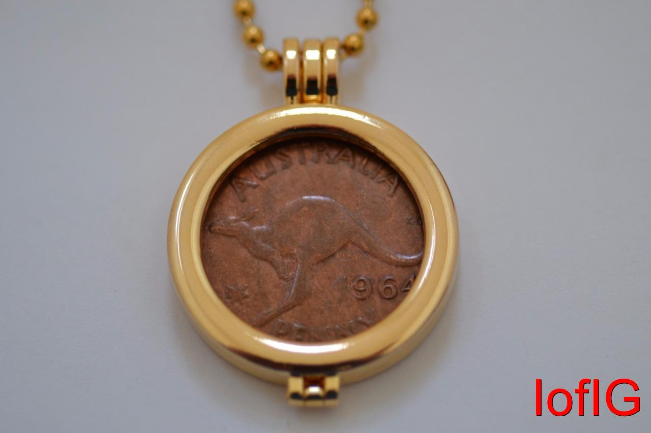 Au one penny coinnecklacependant holderyour lucky birth year coin au one penny coin necklace pendant holder your aloadofball Images