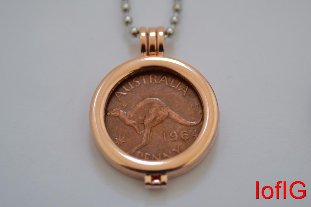 Au one penny coinnecklacependant holderyour lucky birth year coin au one penny coin necklace pendant holder your aloadofball Gallery