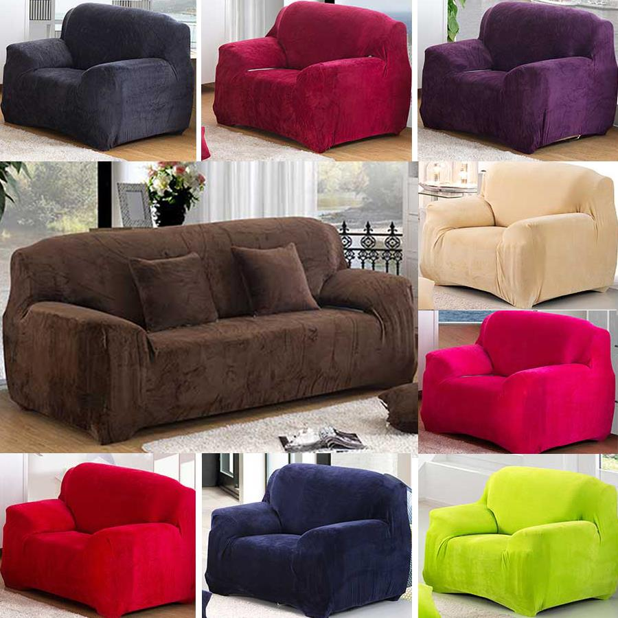 super thick solid colour plush pillow couch stretch sofa cover 1 2 3 4 seater. Black Bedroom Furniture Sets. Home Design Ideas