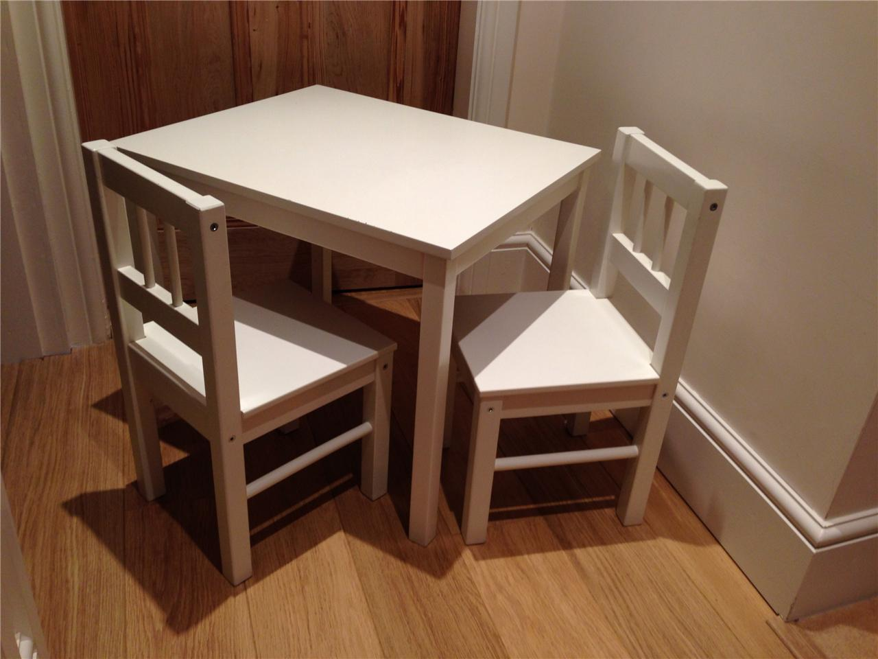 ikea childrens white wooden table and chairs pick near wrexham and chester ebay. Black Bedroom Furniture Sets. Home Design Ideas