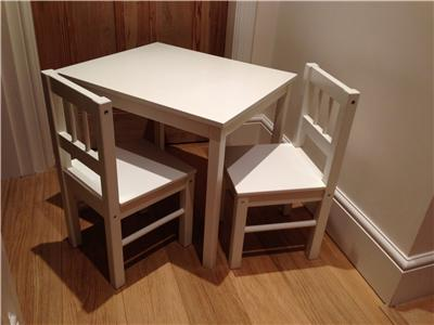 details about ikea childrens white wooden table and chairs pick near