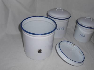 enamel three piece canister set sugar coffee tea pottery