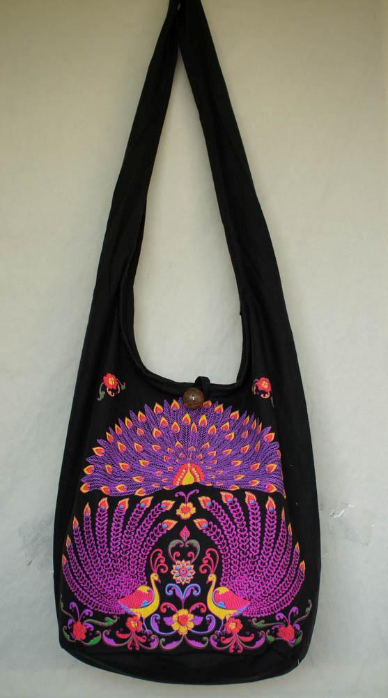 PURPLE PEACOCK HAND PAINT HOBO BAG sling purse shoulder ...