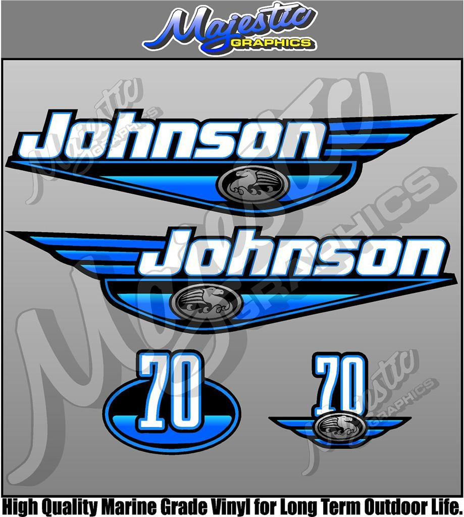 Johnson 70hp Blue Outboard Decals Ebay