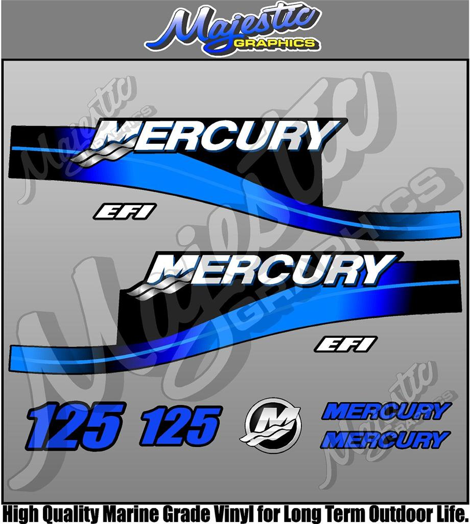 Mercury 125hp efi outboard decals for Custom outboard motor decals