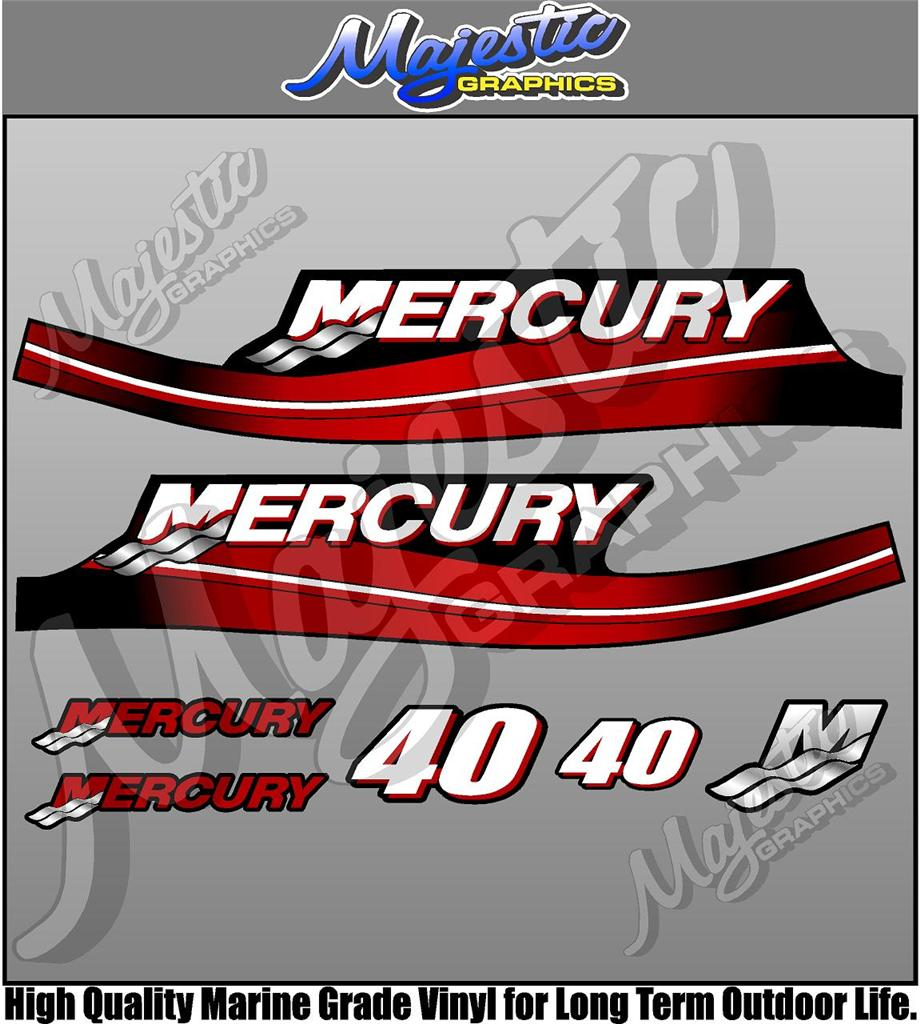 Mercury 40hp 2 stroke outboard decals ebay for Custom outboard motor decals