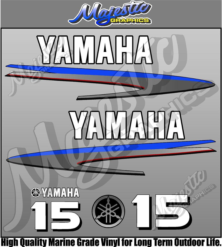 Yamaha 15hp outboard decals ebay for Yamaha boat decals graphics