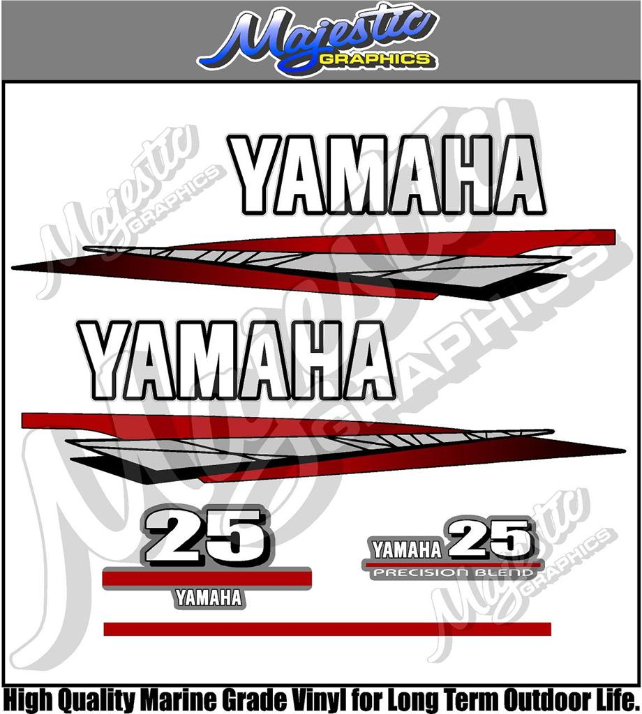 Yamaha 25hp 2 stroke outboard decals ebay for Custom outboard motor decals