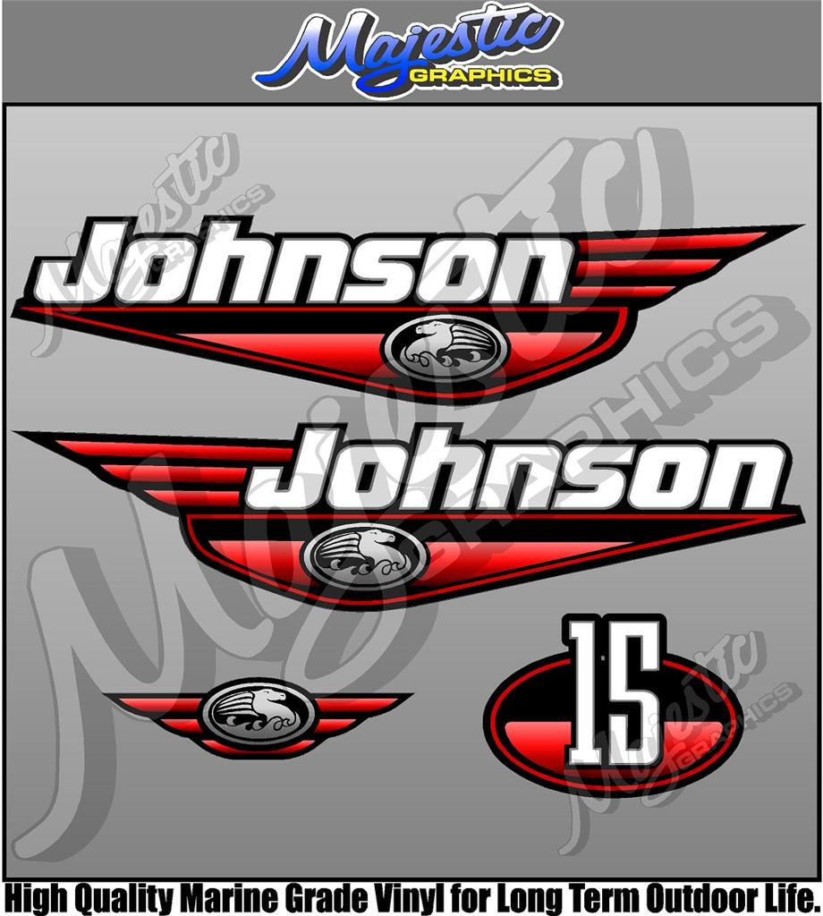 Johnson 15hp Red Decal Set Outboard Decals Ebay