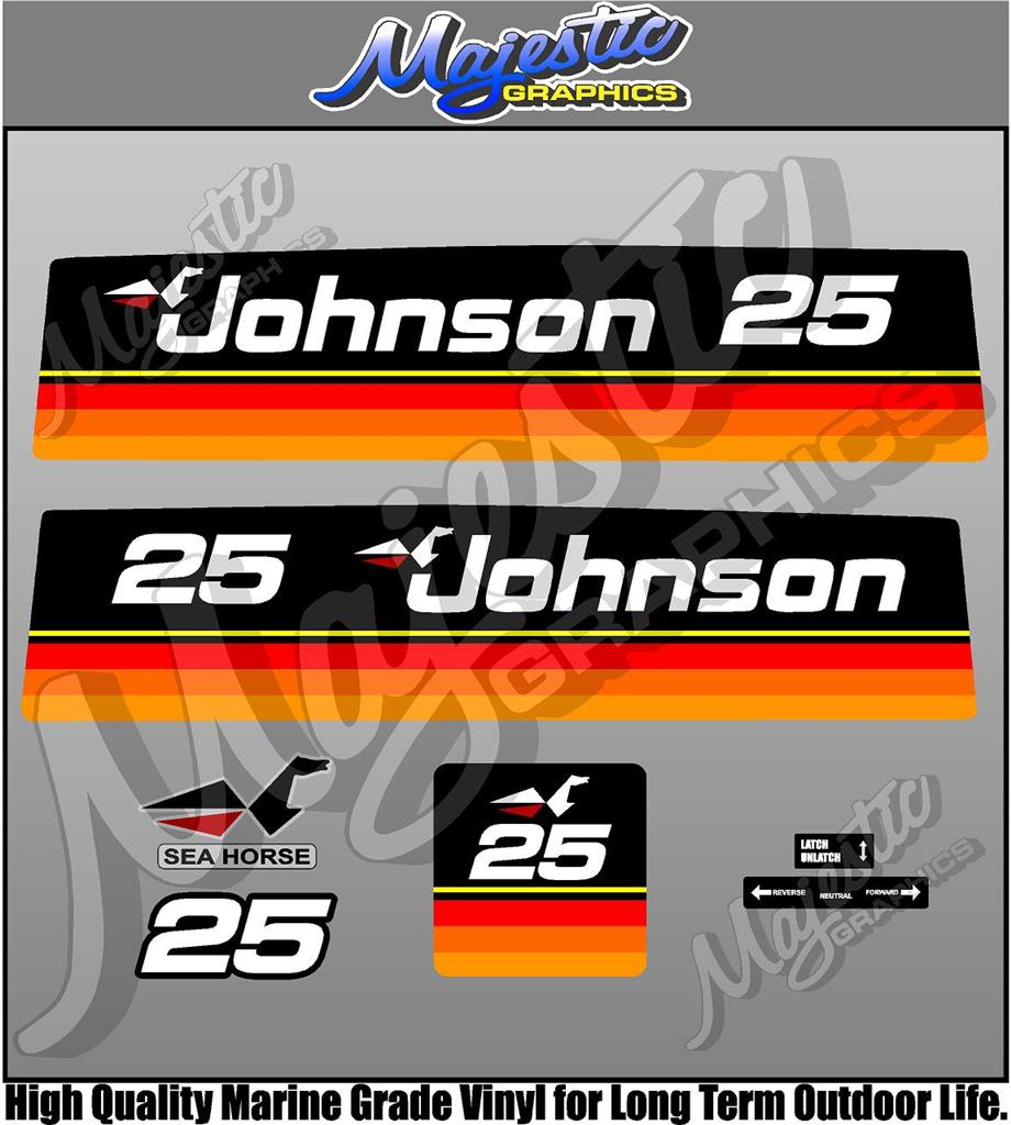 Johnson 25hp Seahorse Decal Set Outboard Decals Ebay