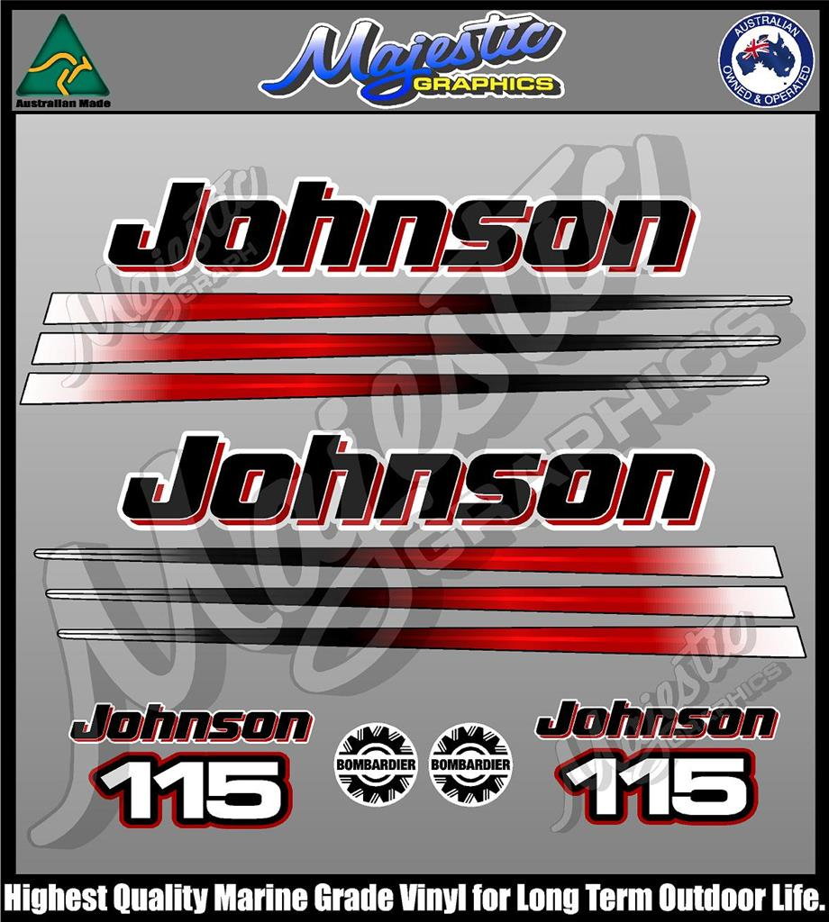 Johnson 115hp Bombadier Decal Set Outboard Decals Ebay