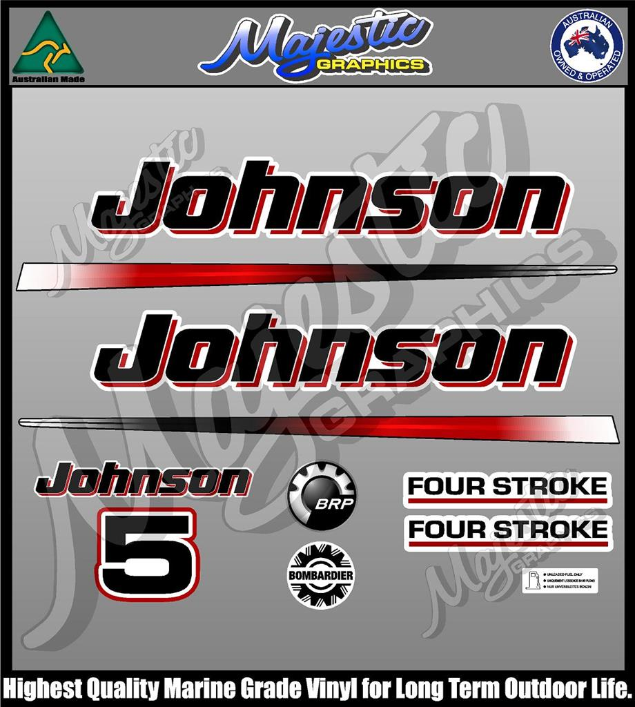 Johnson 5 Hp Fourstroke Decal Set Outboard Decals Ebay