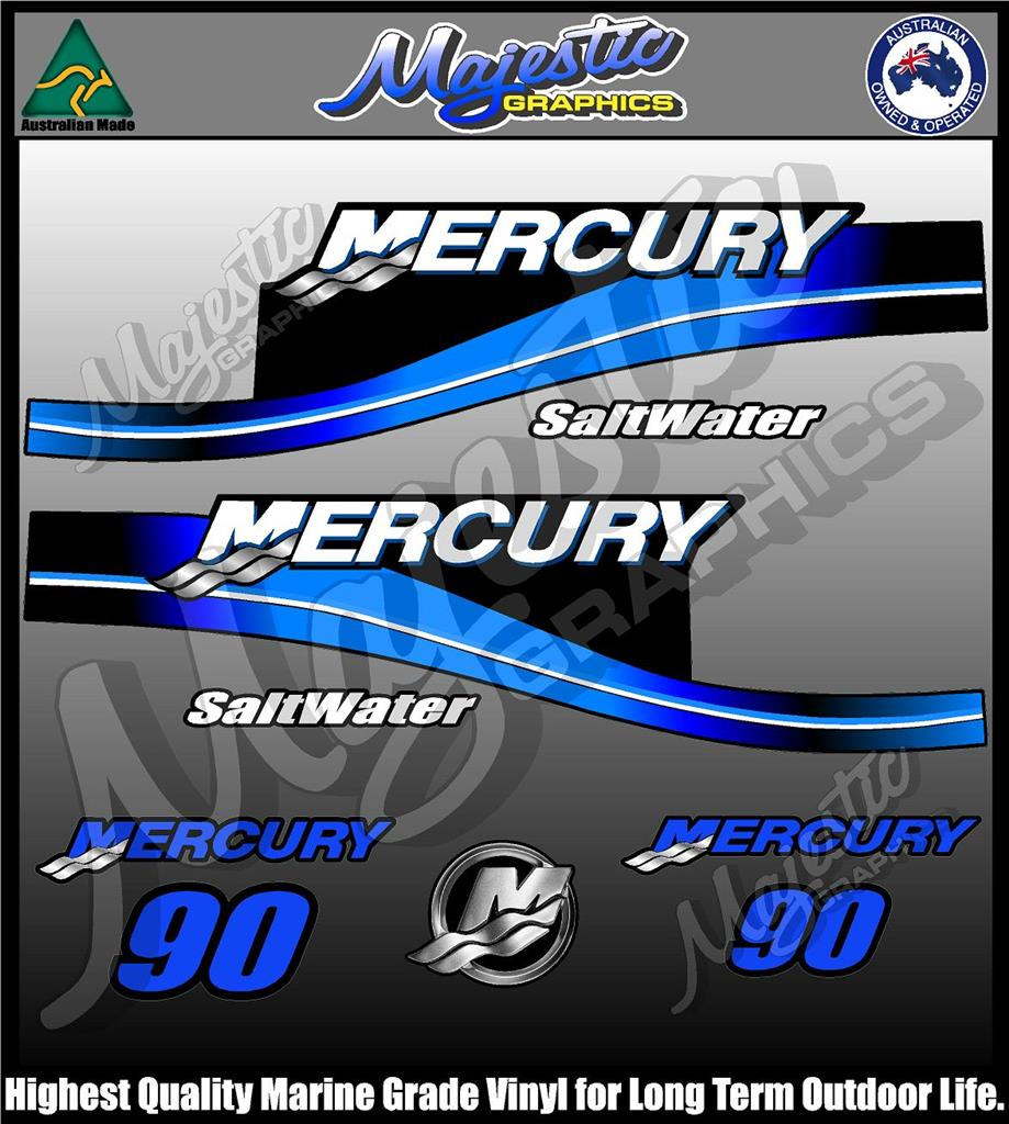 Mercury 90hp saltwater decal set outboard decals ebay for 90 hp outboard motor prices