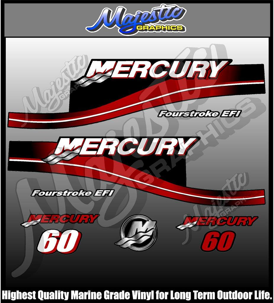 Mercury 60hp fourstroke outboard decals for Custom outboard motor decals