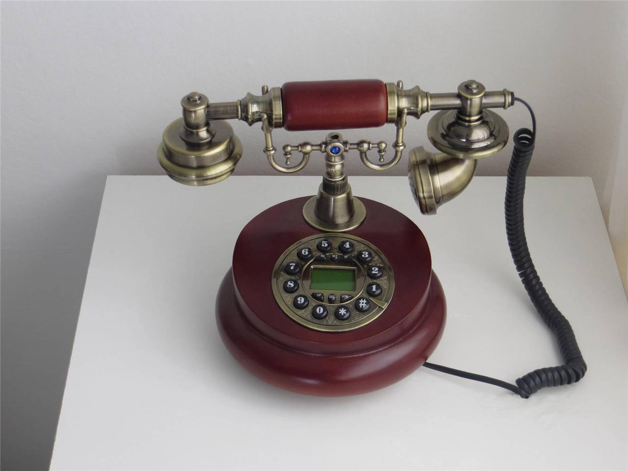 new antique desk telephone wooden button dial retro vintage corded home decor ebay. Black Bedroom Furniture Sets. Home Design Ideas