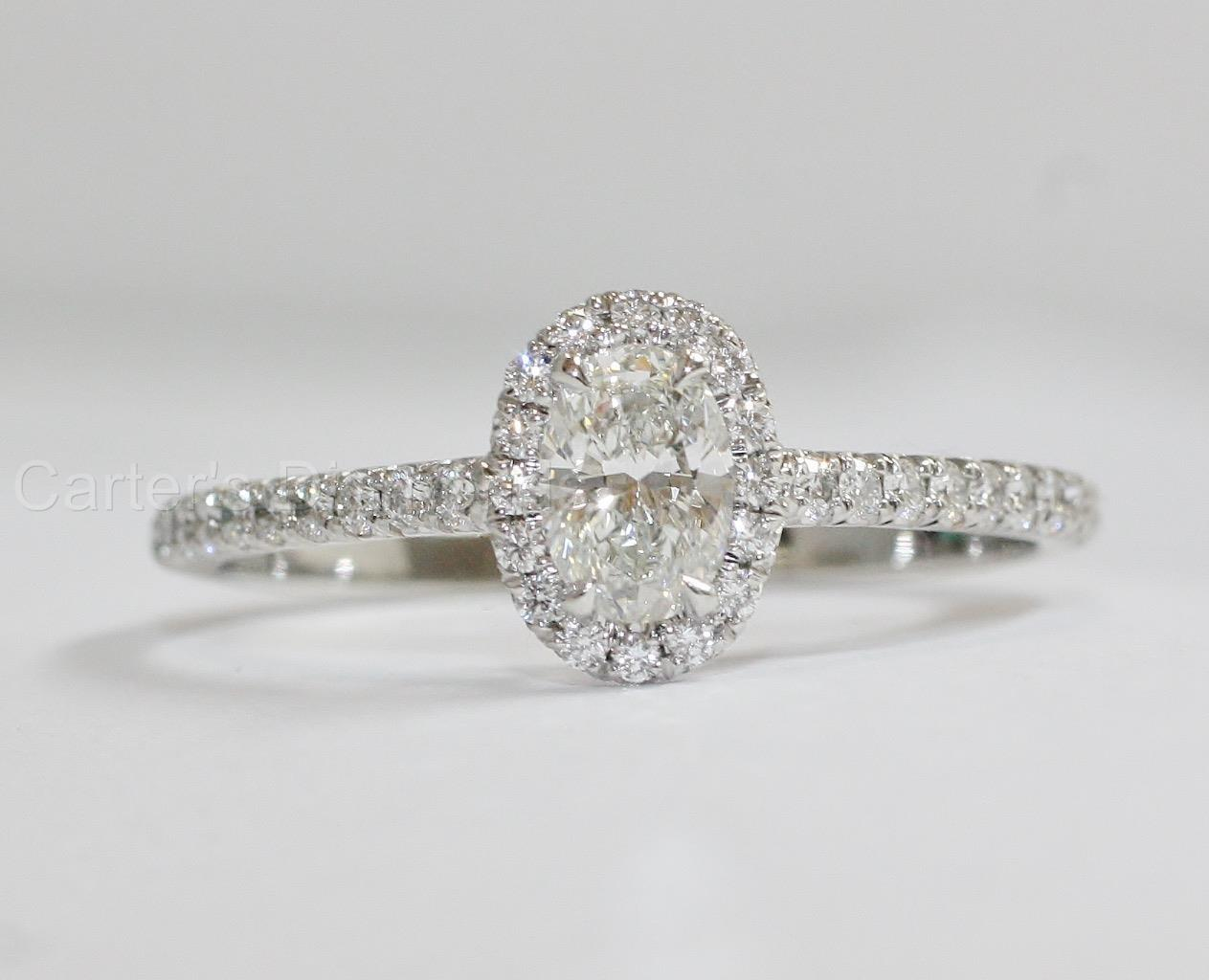 Tiffany Soleste Oval Diamond Halo Engagement Ring 70ctw w Boxes