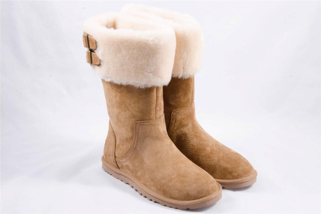 ugg women 39 s beckham suede sheepskin shestnut boots size us. Black Bedroom Furniture Sets. Home Design Ideas