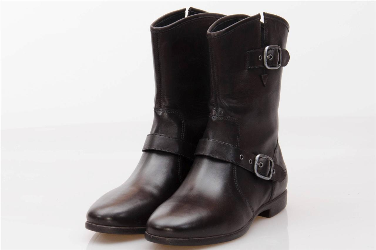 ugg frances black leather shearling ankle buckle boots