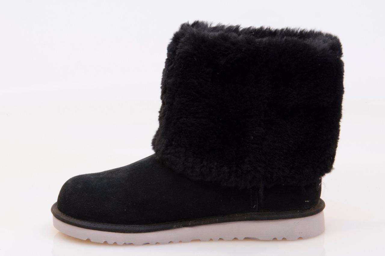ugg ellee black suede sheepskin cozy boots size us 6 uk