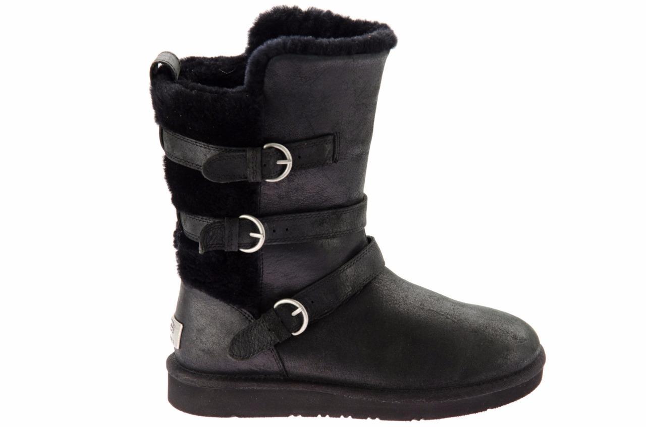ugg becket black leather sheepskin buckle winter boots