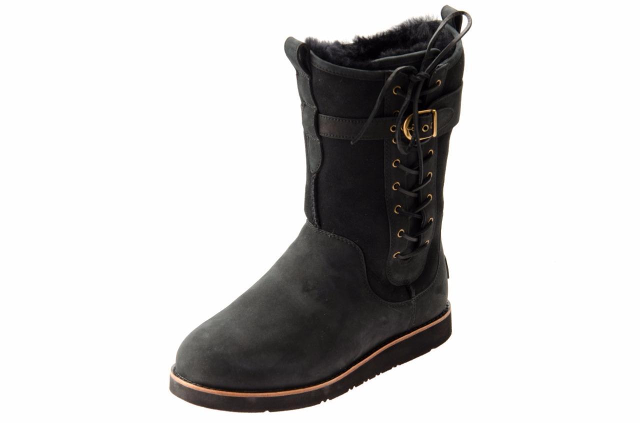 ugg amelia black leather sheepskin corset buckle boots