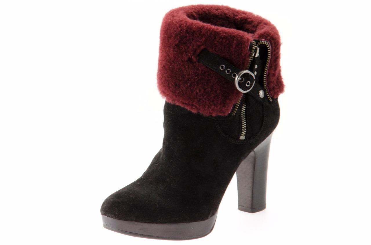 ugg sheepskin cuff boot black size 6 santa barbara