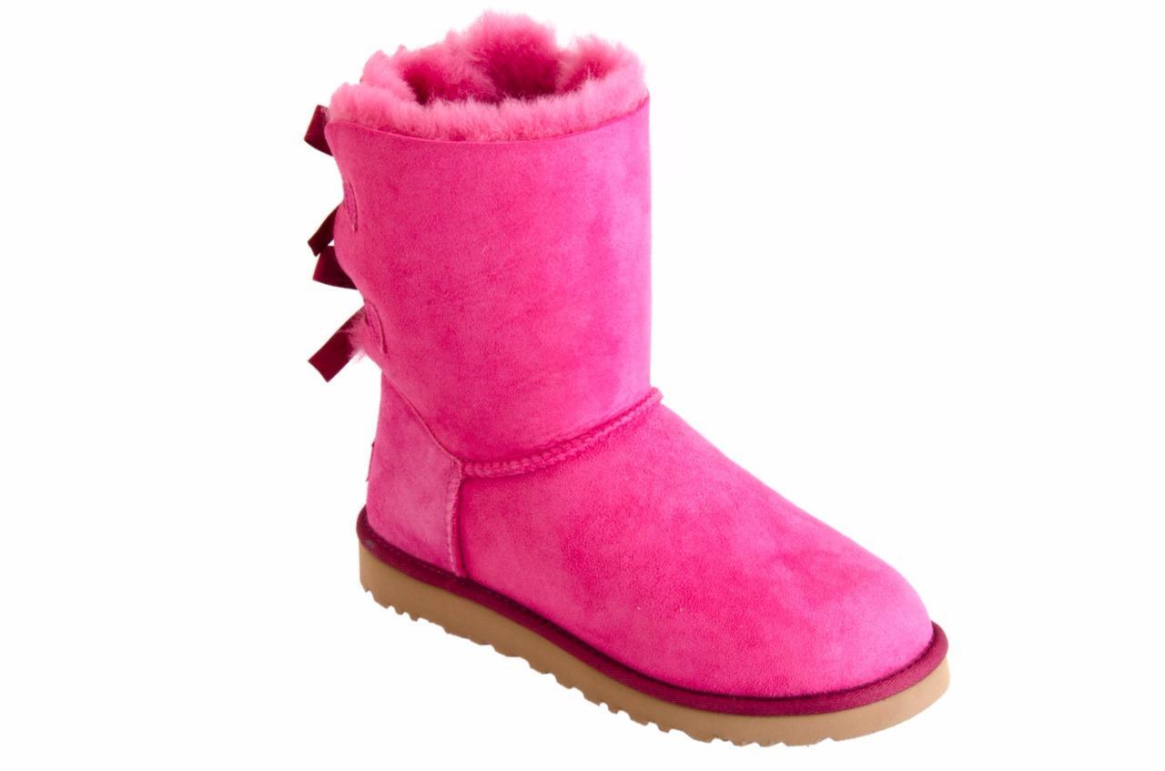 ugg women 39 s bailey bow diva pink suede sheepskin boots size us 7 uk 5. Black Bedroom Furniture Sets. Home Design Ideas