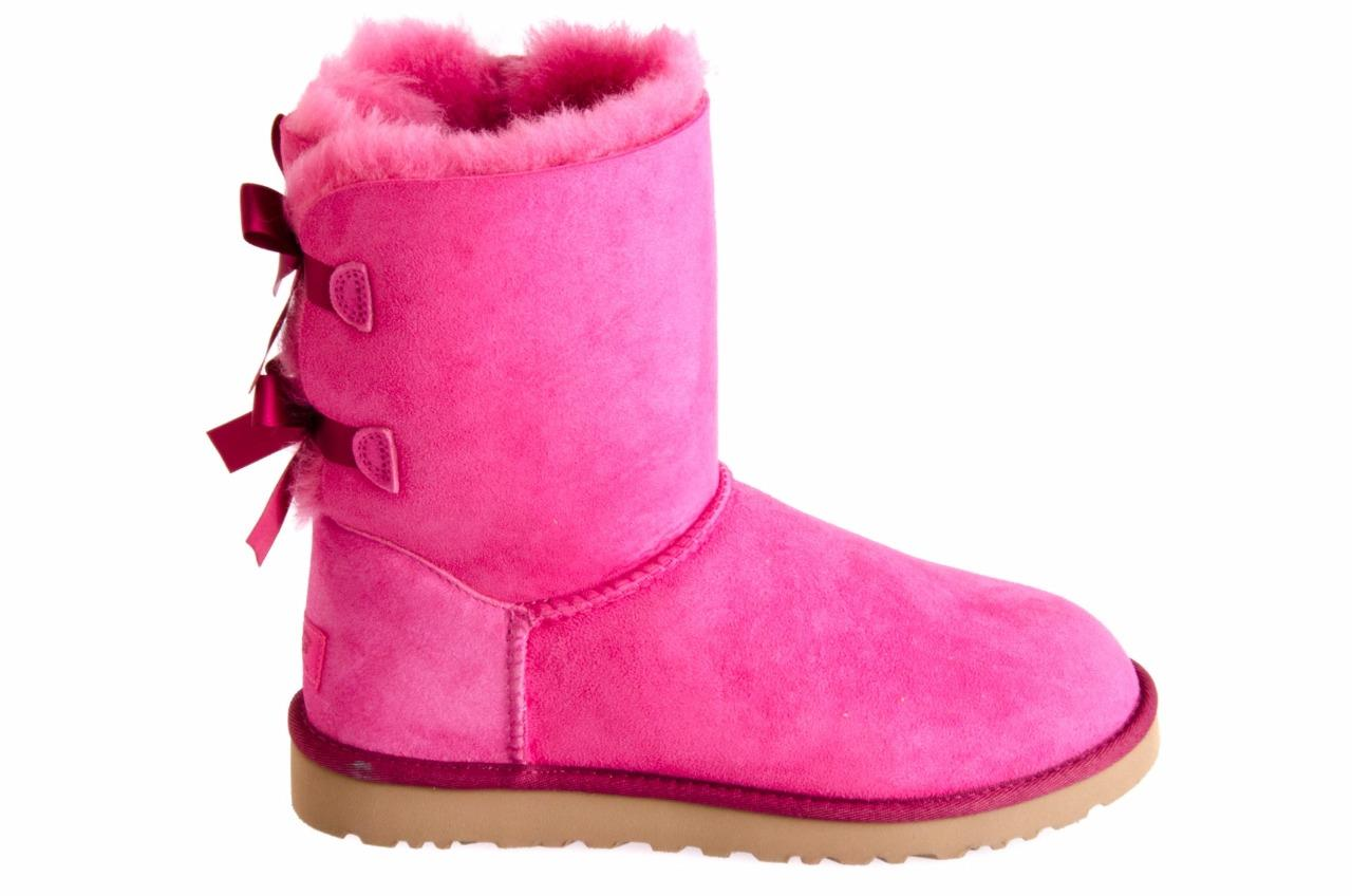 ugg s bailey bow pink suede sheepskin boots