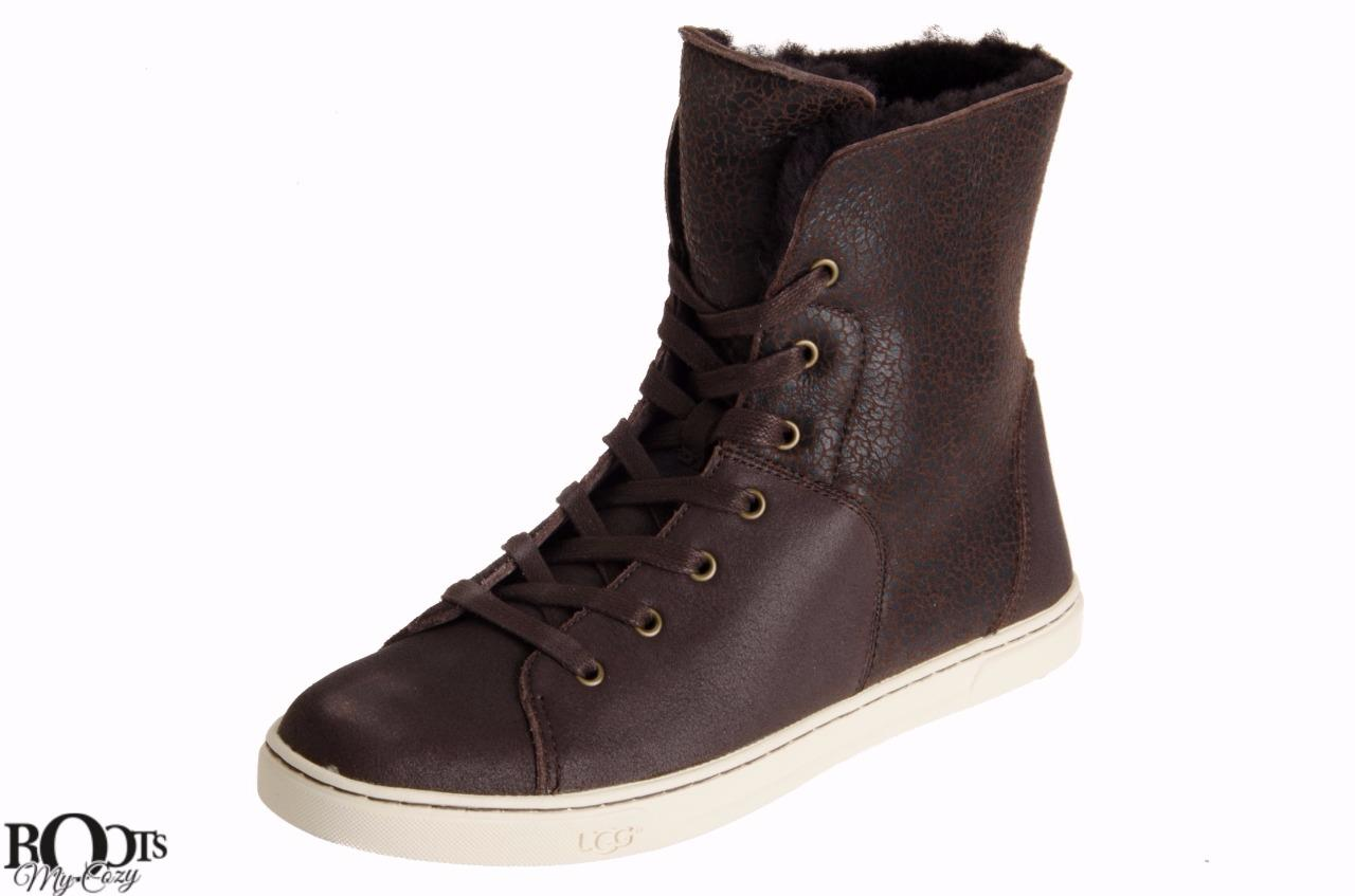 ugg chocolate leather ankle lace up boots sneakers