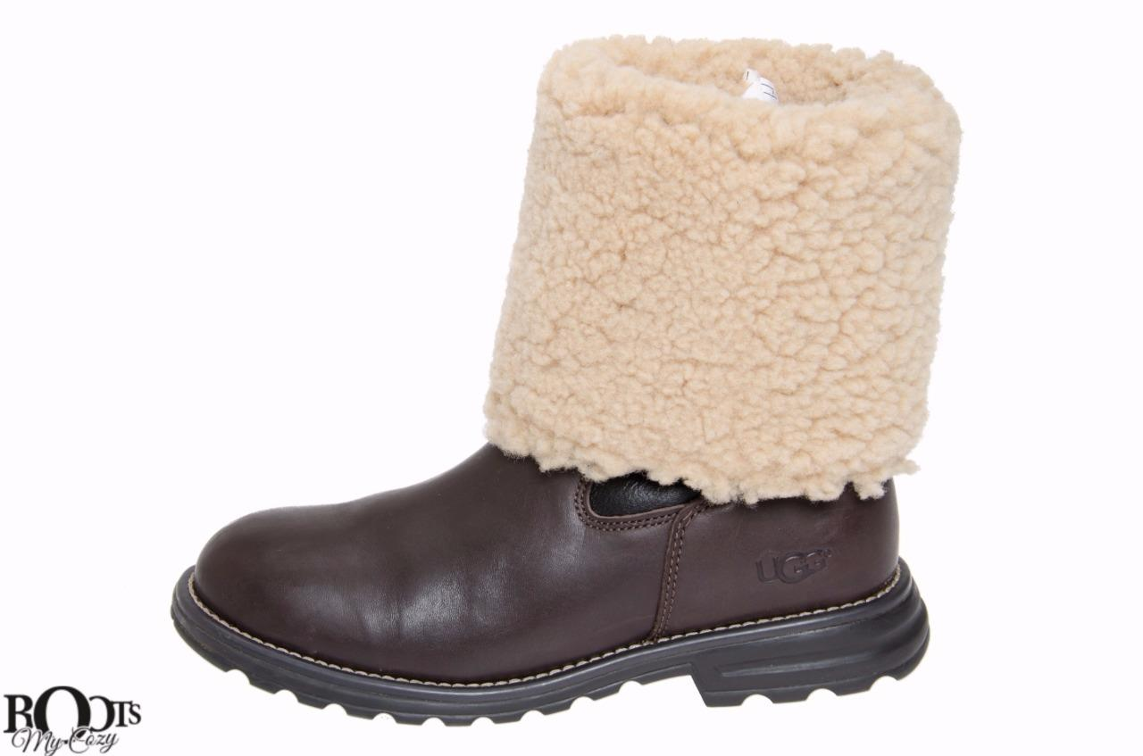 ugg brown leather fully shearling lined snow