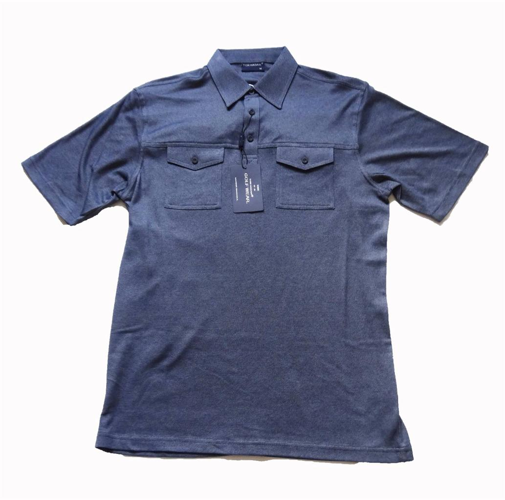 Tom hagan golf polo shirt with two pocket button up sizes for Two pocket polo shirt
