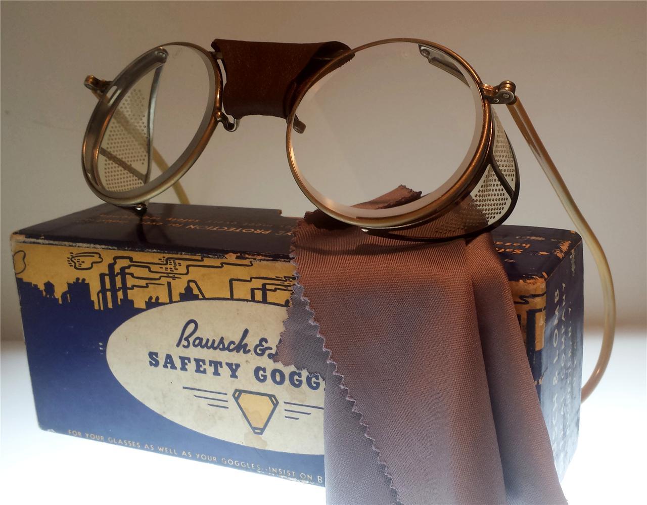 Details about vtg bausch amp lomb antique safety glasses b amp l goggles sun