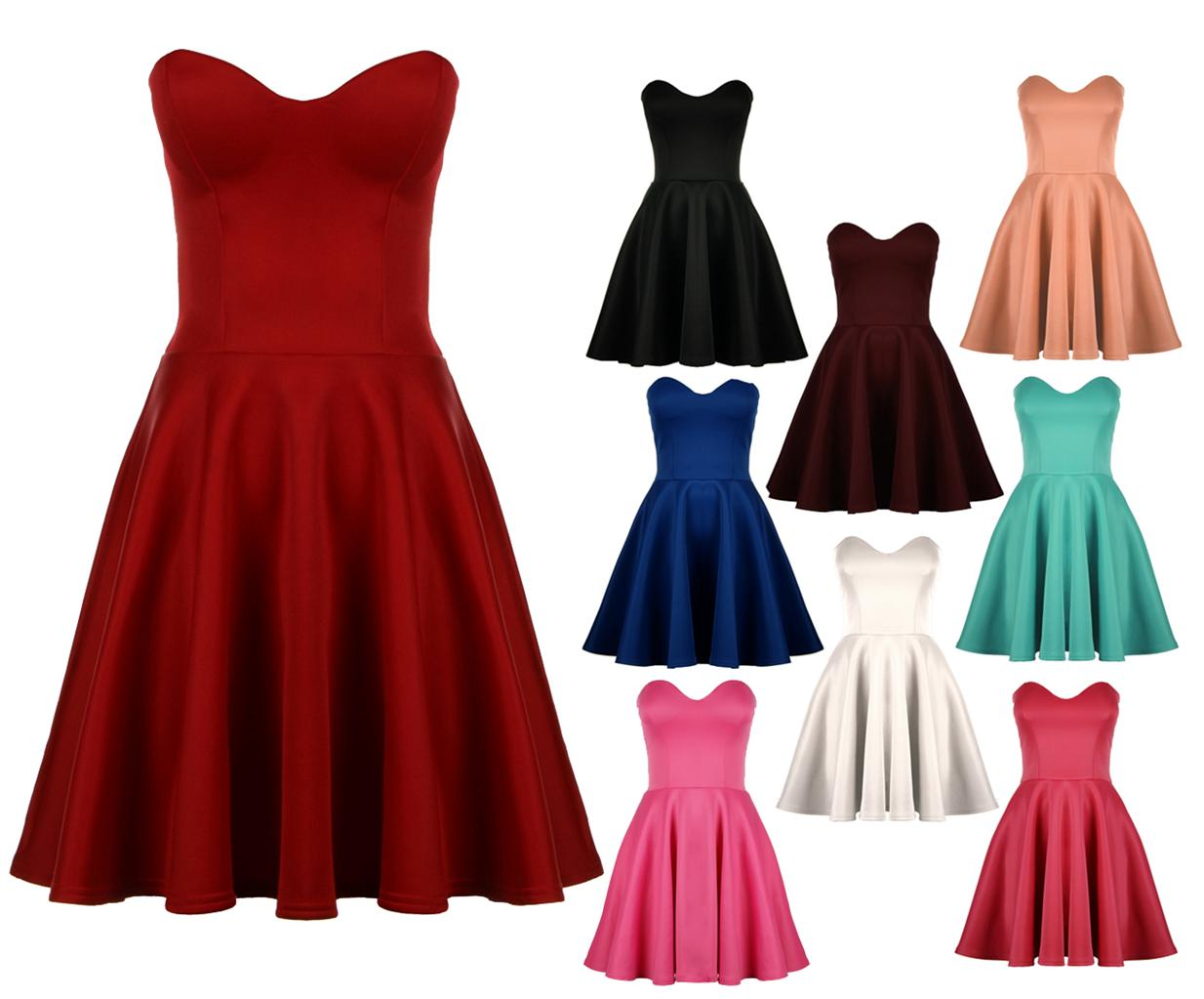 Womens-Ladies-Party-Boobtube-Strapless-Skater-Prom-Dress-UK-8-14