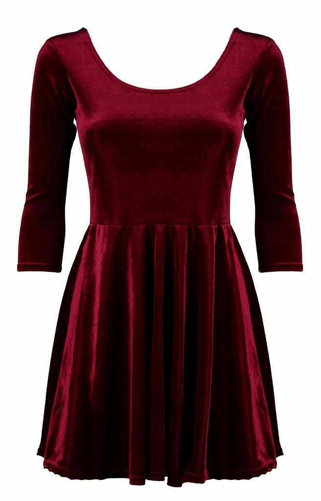 Womens-Ladies-Party-Soft-Velour-Velvet-3-4-Sleeve-Evening-Skater-Dress-LBD