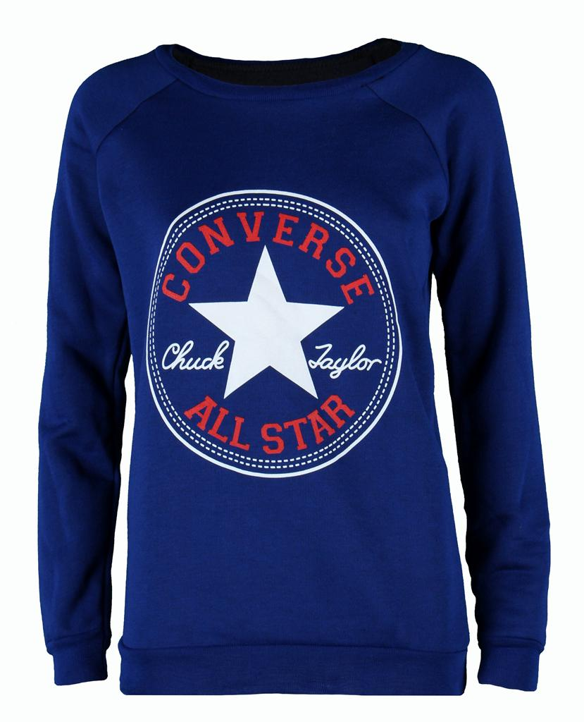Womens-Ladies-Winter-Warm-Sleeve-Converse-Logo-Sweatshirt-Top-Pullover-Jumper
