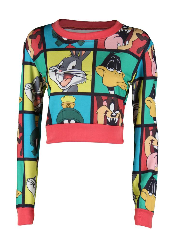 Womens-Ladies-Party-Comic-Animal-Disney-Cartoon-Looney-Tunes-Dress-Crop-Top