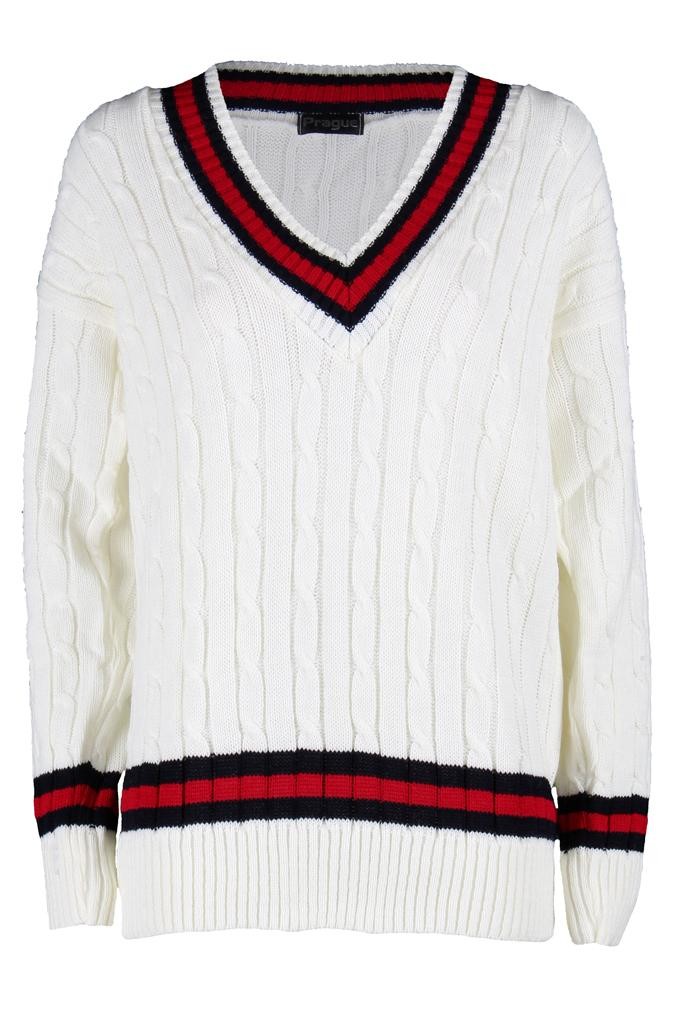 Womens-Ladies-Sports-V-Neck-Knitted-Sweatshirt-Top-Pullover-Cricket-Jumper