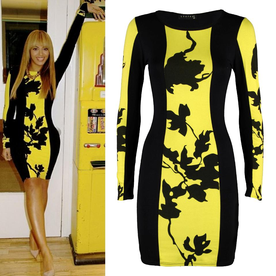 Womens-Ladies-Celebrity-Beyonce-Inspired-Floral-Black-Panel-Bodycon-Mini-Dress