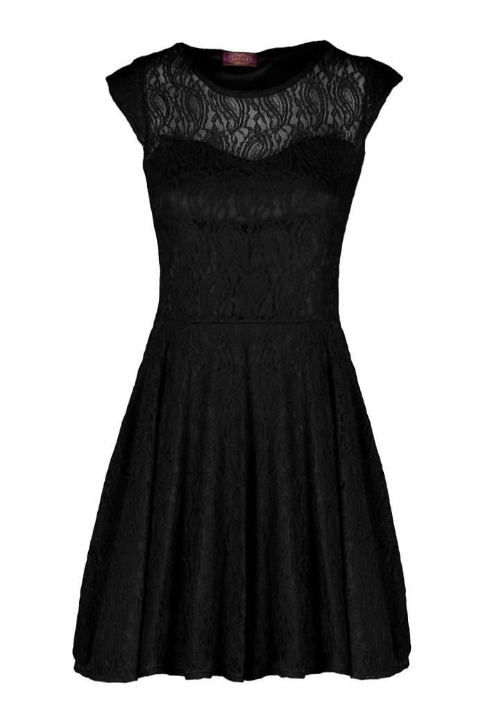 Womens-Ladies-Evening-Party-Floral-Paisleys-Lace-Skater-Little-Black-Dress-LBD