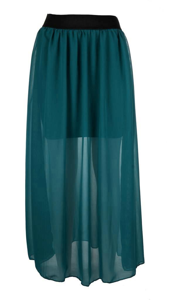 WOMENS-LADIES-ELASTIC-WAIST-BAND-PLEATED-CHIFFON-LONG-MAXI-SKIRT-WITH-UNDERSKIRT