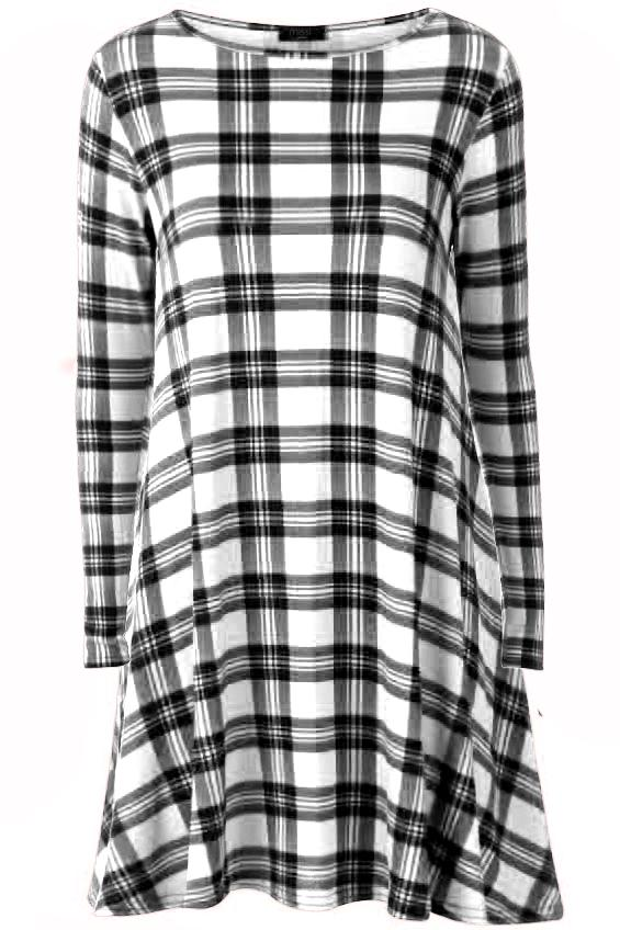 Womens-Ladies-Party-Red-Aztec-Tartan-Chequered-Skater-Flared-Swing-Smock-Dress