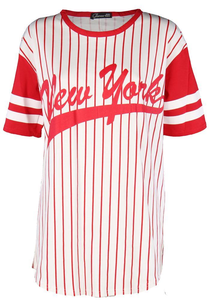 Womens-Ladies-Celeb-Jersey-Hockey-Oversized-Long-NY-Baseball-Newyork-Tee-Top